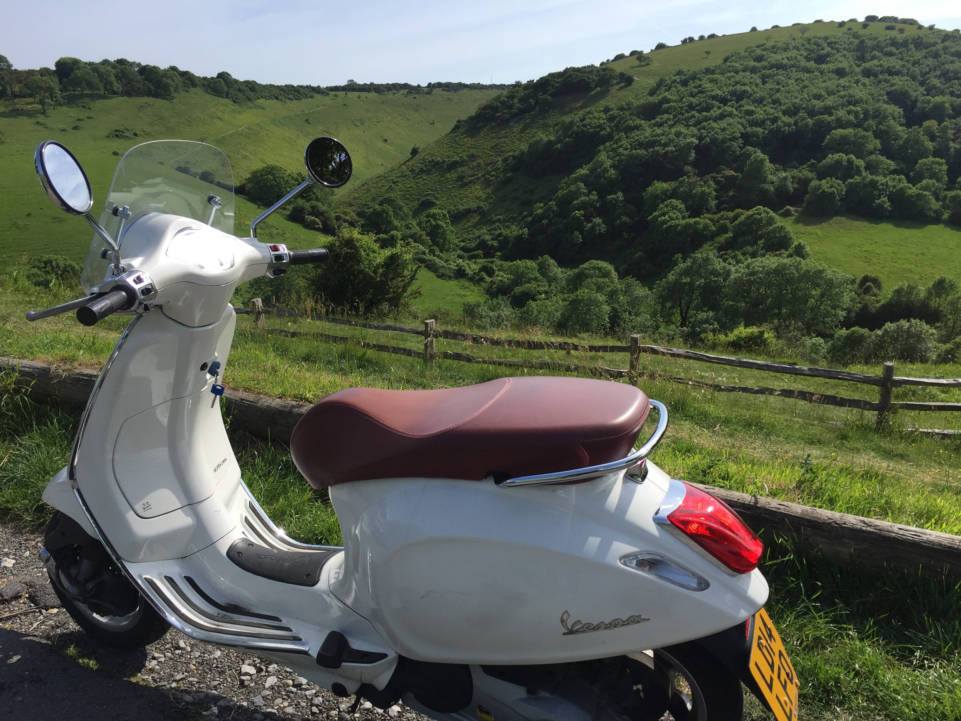 Vespa over countryside