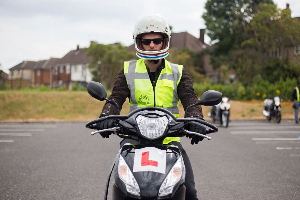 Rider with hi-vis and helmet