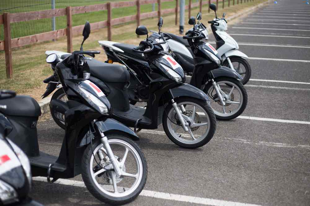 Four scooters ready to train
