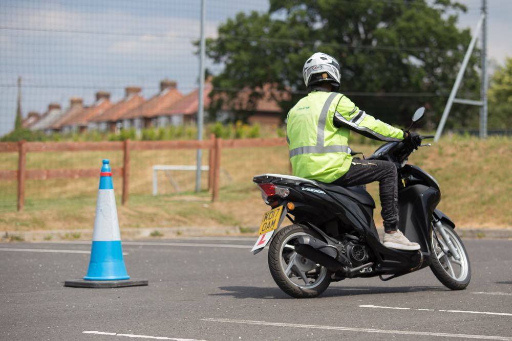 Rider completing cone training