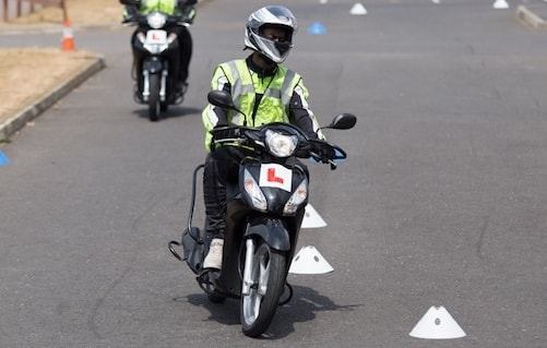 training rider through cones